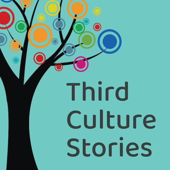 Icon for Third Culture Stories podcast. Tree with leaves in diverse colors.